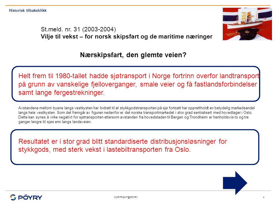 COPYRIGHT@PÖYRY5 For eksport og import til og fra Norge er sjøtransport fortsatt den dominerende transportformen.
