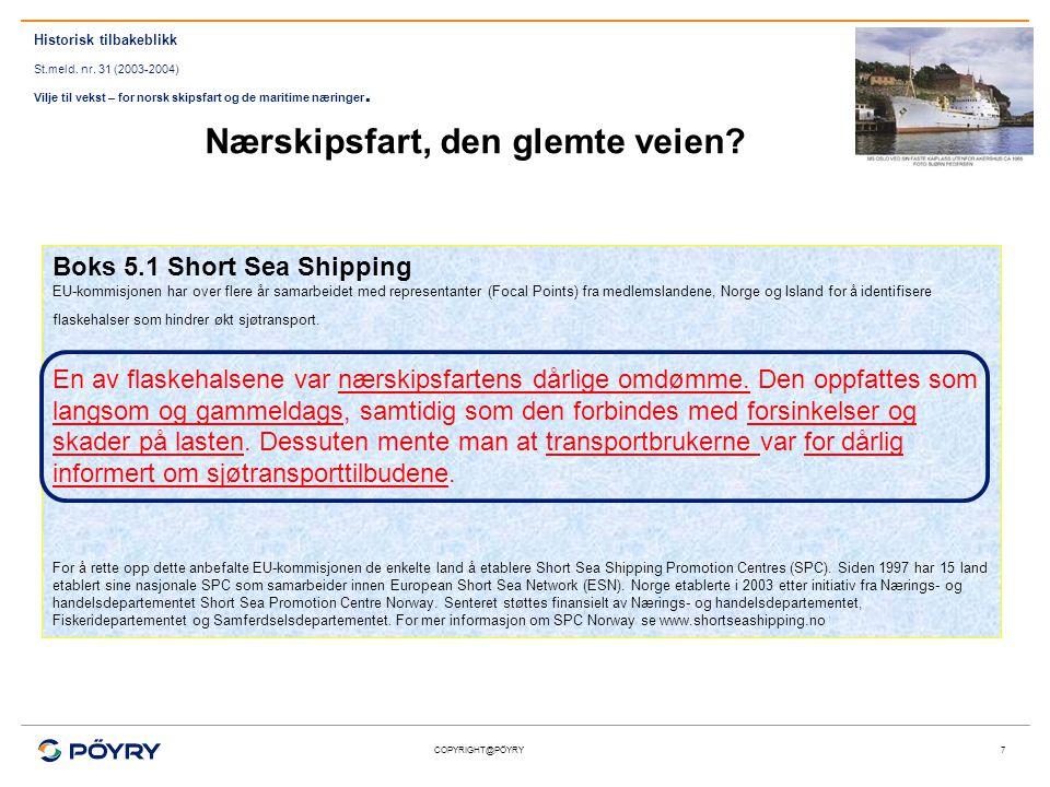 COPYRIGHT@PÖYRY7 Boks 5.1 Short Sea Shipping EU-kommisjonen har over flere år samarbeidet med representanter (Focal Points) fra medlemslandene, Norge