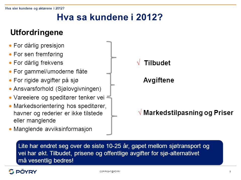 COPYRIGHT@PÖYRY Hva sa kundene i 2012? Utfordringene  For dårlig presisjon  For sen fremføring  For dårlig frekvens  For gammel/umoderne flåte  F