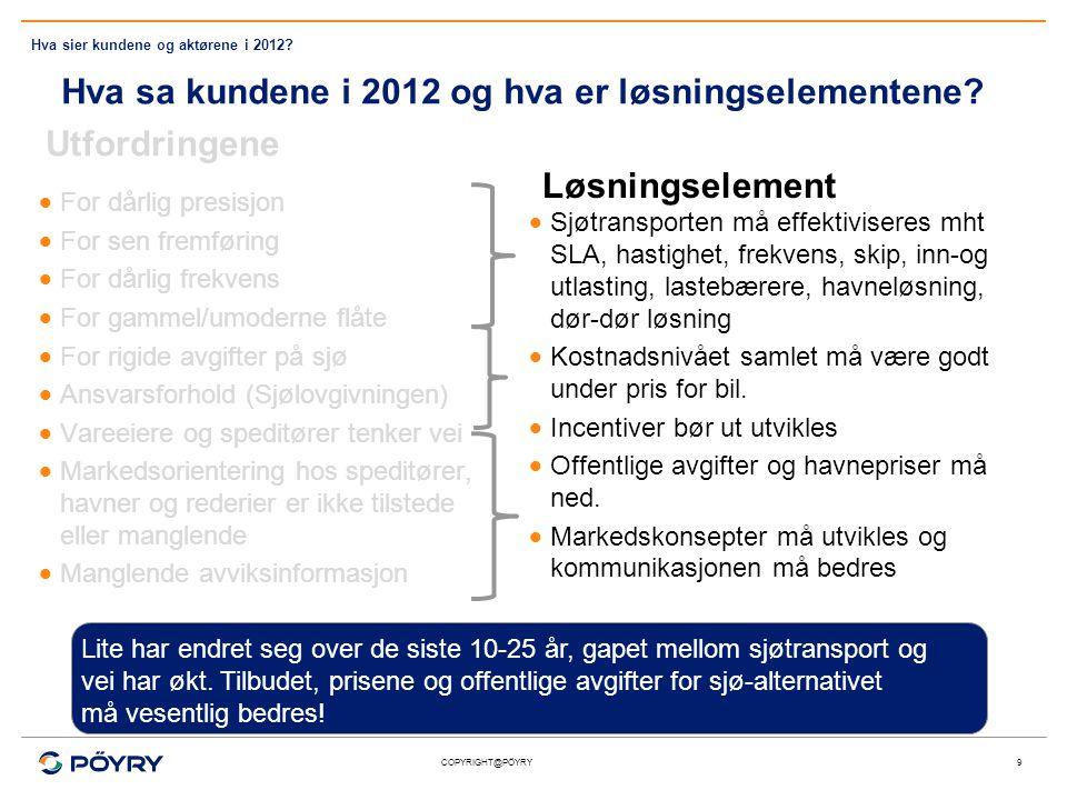 COPYRIGHT@PÖYRY Hva sa kundene i 2012 og hva er løsningselementene? Utfordringene  For dårlig presisjon  For sen fremføring  For dårlig frekvens 