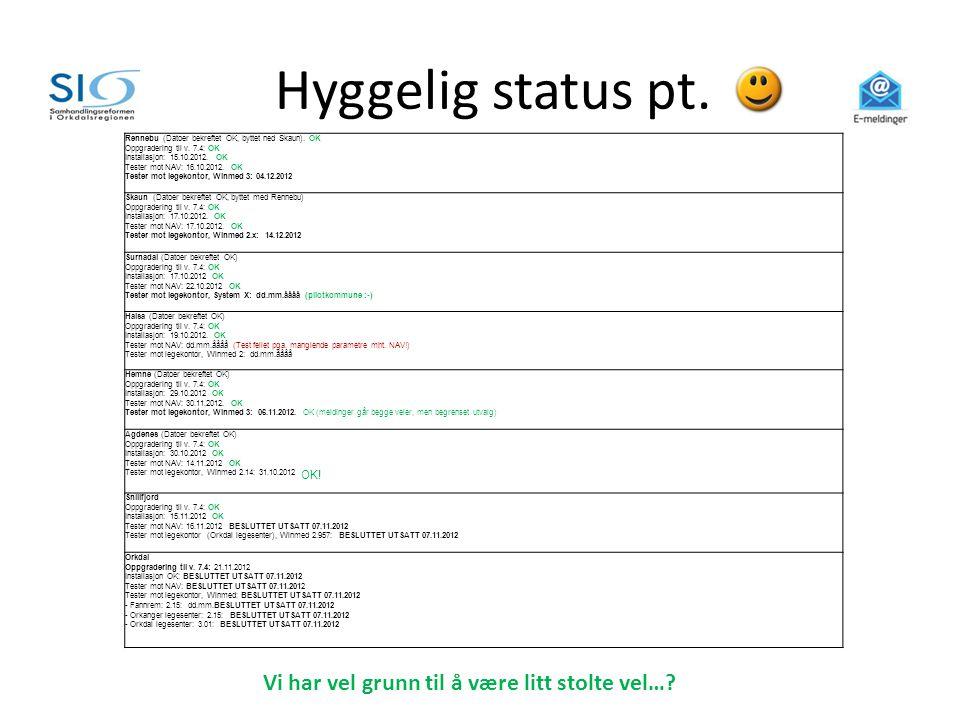 Hyggelig status pt. Rennebu (Datoer bekreftet OK, byttet ned Skaun). OK Oppgradering til v. 7.4: OK Installasjon: 15.10.2012. OK Tester mot NAV: 16.10