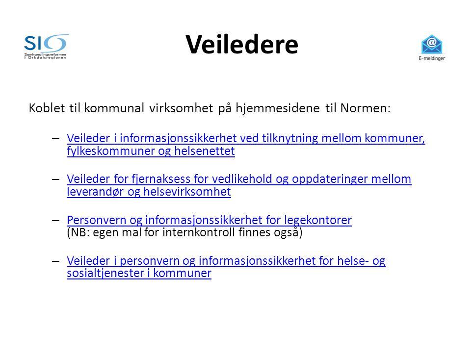Veiledere Koblet til kommunal virksomhet på hjemmesidene til Normen: – Veileder i informasjonssikkerhet ved tilknytning mellom kommuner, fylkeskommune