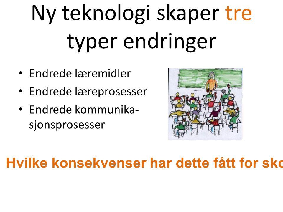 Ny teknologi skaper tre typer endringer • Endrede læremidler • Endrede læreprosesser • Endrede kommunika- sjonsprosesser Hvilke konsekvenser har dette