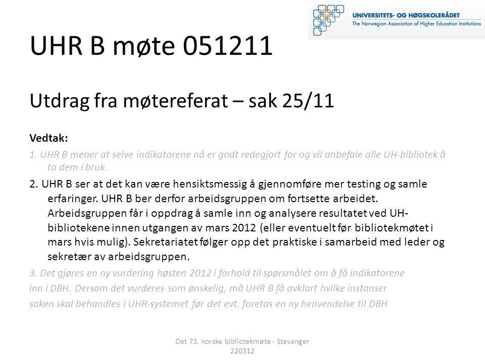 UHR B møte 051211 Utdrag fra møtereferat – sak 25/11 Vedtak: 1.