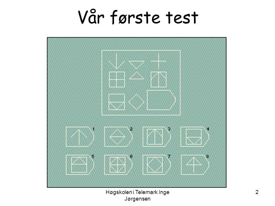 Høgskolen i Telemark Inge Jørgensen 3 Vår andre test •Fortell meg, hva paraply •Hva er likheten mellom en telefon og en radio.