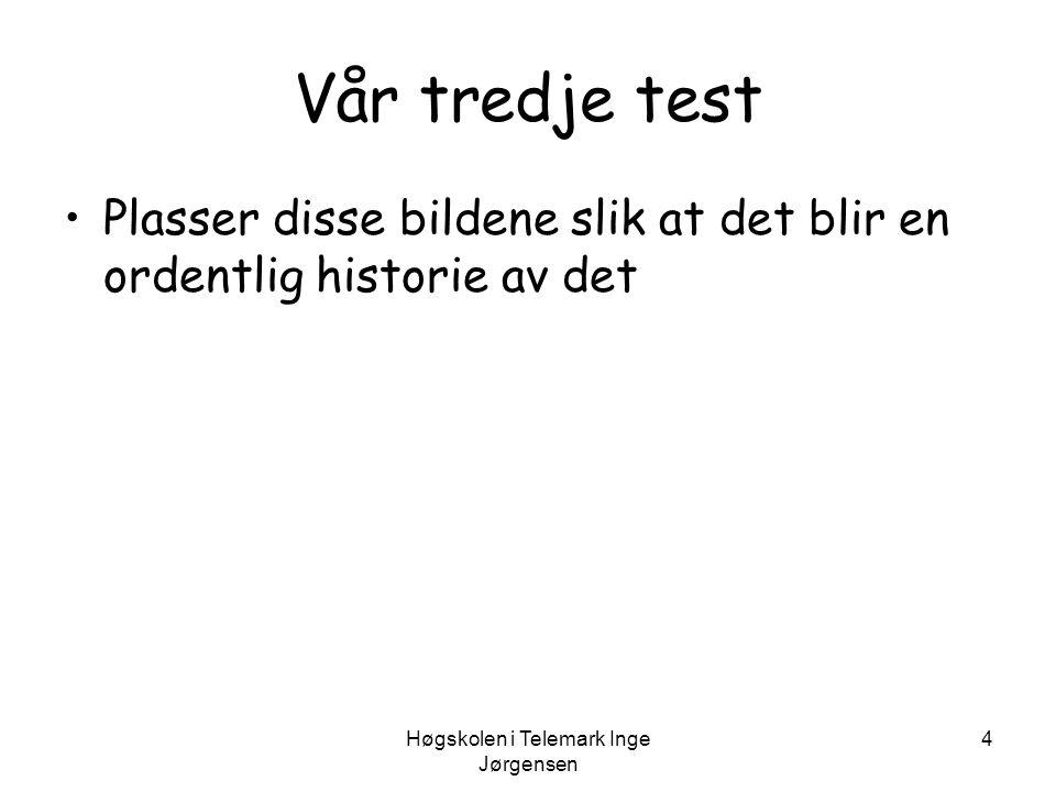 Høgskolen i Telemark Inge Jørgensen 15 Intelligens - normalfordeling a – normalforde- lingskurven b – prosentiler c – stanineskårer (prøveklasser) d – IQ utfra Wechsler e - Delskårer hos Wechsler