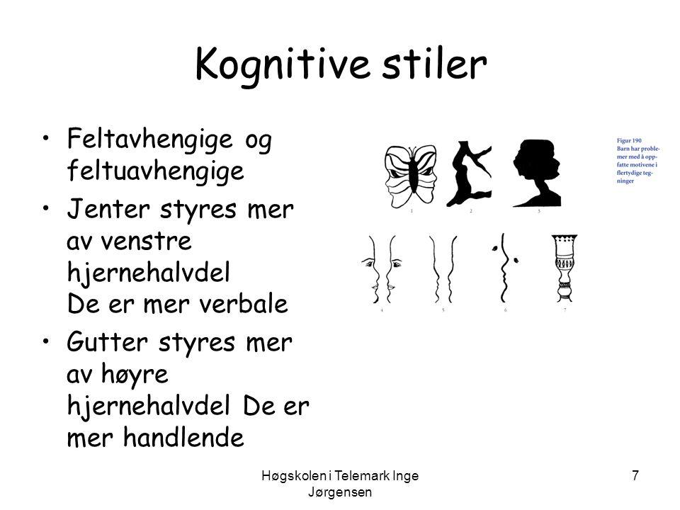 Høgskolen i Telemark Inge Jørgensen 7 Kognitive stiler •Feltavhengige og feltuavhengige •Jenter styres mer av venstre hjernehalvdel De er mer verbale