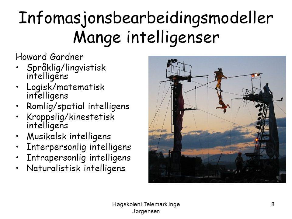 Høgskolen i Telemark Inge Jørgensen 8 Infomasjonsbearbeidingsmodeller Mange intelligenser Howard Gardner •Språklig/lingvistisk intelligens •Logisk/mat