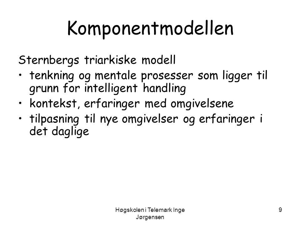 Høgskolen i Telemark Inge Jørgensen 9 Komponentmodellen Sternbergs triarkiske modell •tenkning og mentale prosesser som ligger til grunn for intellige