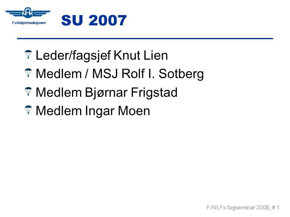 Fallskjermseksjonen F/NLFs fagseminar 2008, # 1 SU 2007 Leder/fagsjef Knut Lien Medlem / MSJ Rolf I.