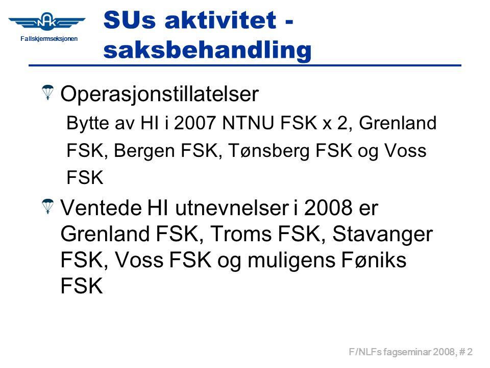Fallskjermseksjonen F/NLFs fagseminar 2008, # 2 SUs aktivitet - saksbehandling Operasjonstillatelser Bytte av HI i 2007 NTNU FSK x 2, Grenland FSK, Bergen FSK, Tønsberg FSK og Voss FSK Ventede HI utnevnelser i 2008 er Grenland FSK, Troms FSK, Stavanger FSK, Voss FSK og muligens Føniks FSK