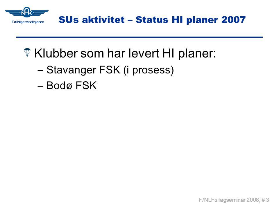Fallskjermseksjonen F/NLFs fagseminar 2008, # 3 SUs aktivitet – Status HI planer 2007 Klubber som har levert HI planer: –Stavanger FSK (i prosess) –Bodø FSK
