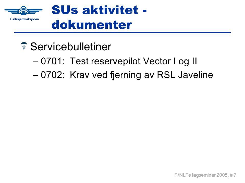 Fallskjermseksjonen F/NLFs fagseminar 2008, # 7 SUs aktivitet - dokumenter Servicebulletiner –0701: Test reservepilot Vector I og II –0702: Krav ved fjerning av RSL Javeline