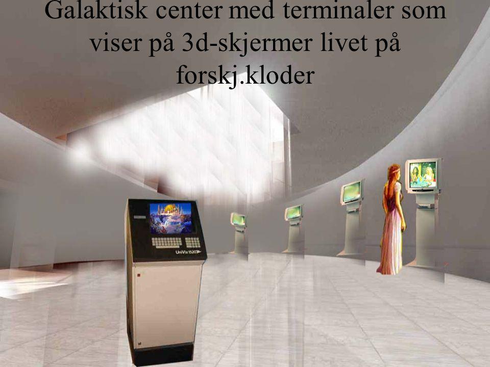 Galaktisk center med terminaler som viser på 3d-skjermer livet på forskj.kloder