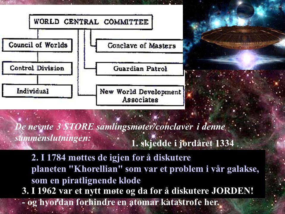 De nevnte 3 STORE samlingsmøter/conclaver i denne sammenslutningen: 1. skjedde i jordåret 1334 2. I 1784 møttes de igjen for å diskutere planeten