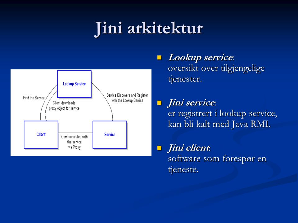 Jini arkitektur  Lookup service: oversikt over tilgjengelige tjenester.