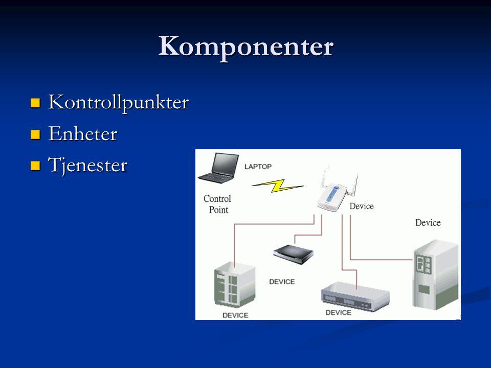 Komponenter  Kontrollpunkter  Enheter  Tjenester