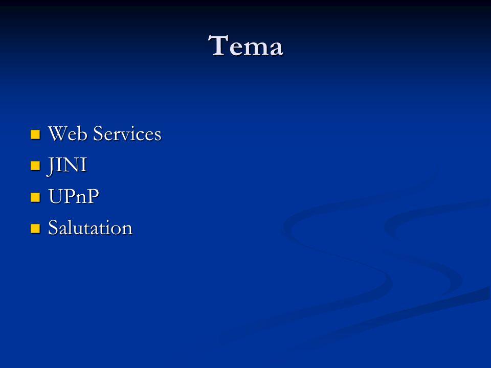 Tema  Web Services  JINI  UPnP  Salutation