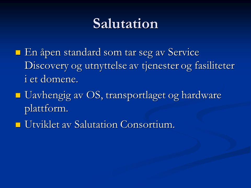 Salutation  En åpen standard som tar seg av Service Discovery og utnyttelse av tjenester og fasiliteter i et domene.