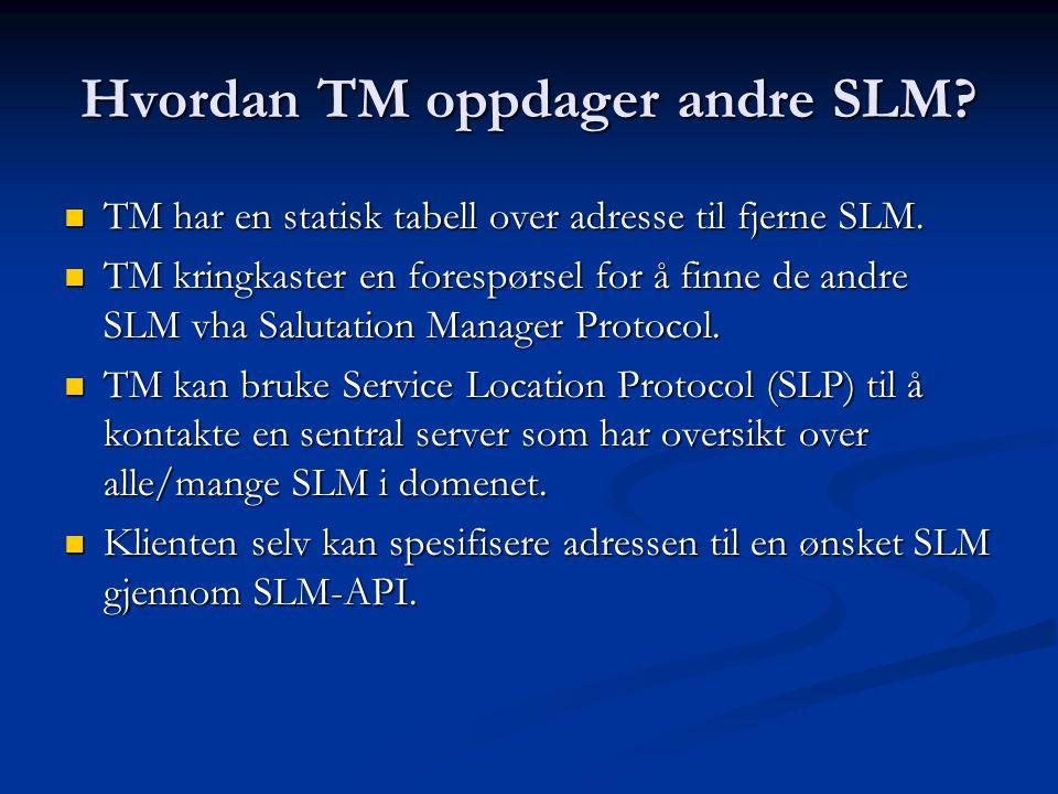 Hvordan TM oppdager andre SLM.  TM har en statisk tabell over adresse til fjerne SLM.