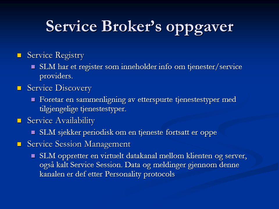 Service Broker's oppgaver  Service Registry  SLM har et register som inneholder info om tjenester/service providers.