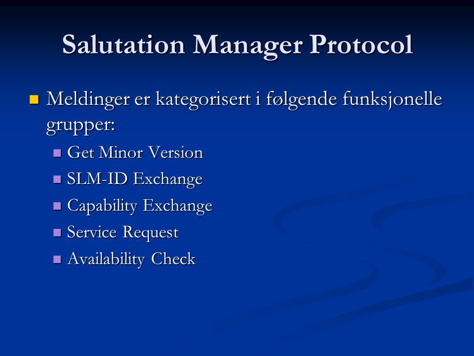 Salutation Manager Protocol  Meldinger er kategorisert i følgende funksjonelle grupper:  Get Minor Version  SLM-ID Exchange  Capability Exchange  Service Request  Availability Check