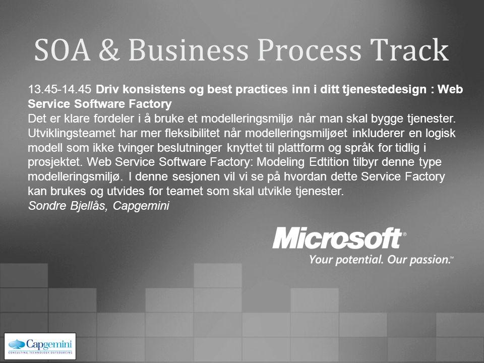 SOA & Business Process Track 13.45-14.45 Driv konsistens og best practices inn i ditt tjenestedesign : Web Service Software Factory Det er klare fordeler i å bruke et modelleringsmiljø når man skal bygge tjenester.