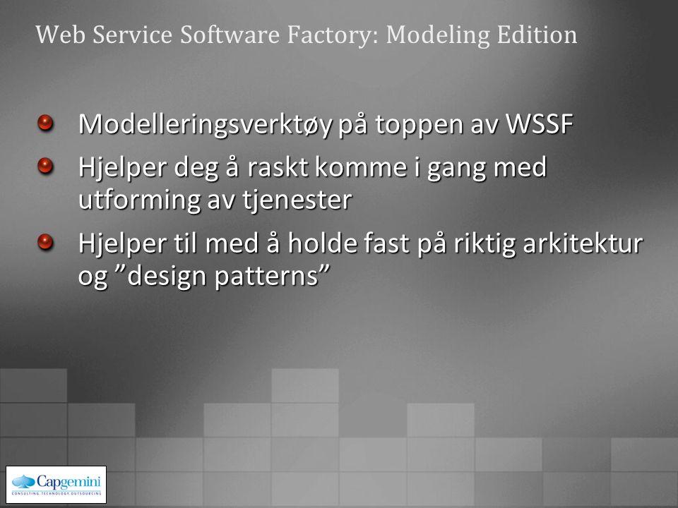 Web Service Software Factory: Modeling Edition Modelleringsverktøy på toppen av WSSF Hjelper deg å raskt komme i gang med utforming av tjenester Hjelper til med å holde fast på riktig arkitektur og design patterns