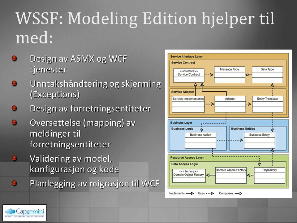 WSSF: Modeling Edition hjelper til med: Design av ASMX og WCF tjenester Unntakshåndtering og skjerming (Exceptions) Design av forretningsentiteter Oversettelse (mapping) av meldinger til forretningsentiteter Validering av model, konfigurasjon og kode Planlegging av migrasjon til WCF
