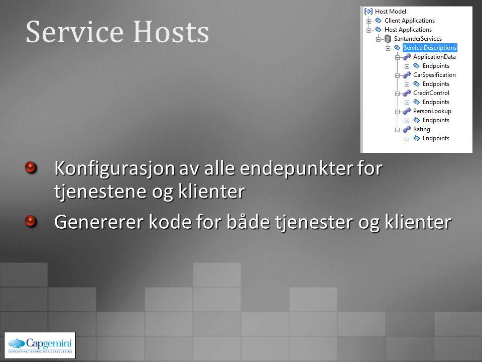 Service Hosts Konfigurasjon av alle endepunkter for tjenestene og klienter Genererer kode for både tjenester og klienter