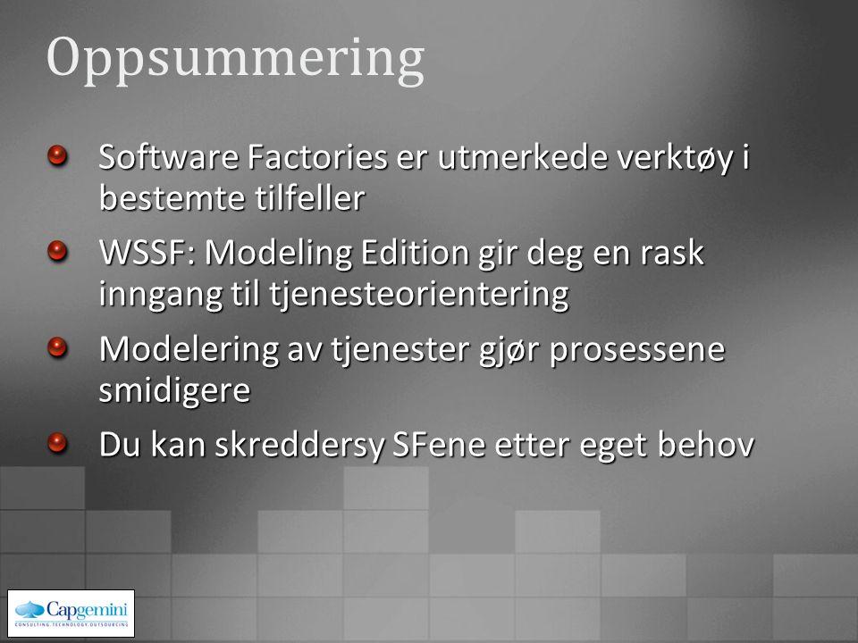 Oppsummering Software Factories er utmerkede verktøy i bestemte tilfeller WSSF: Modeling Edition gir deg en rask inngang til tjenesteorientering Modelering av tjenester gjør prosessene smidigere Du kan skreddersy SFene etter eget behov