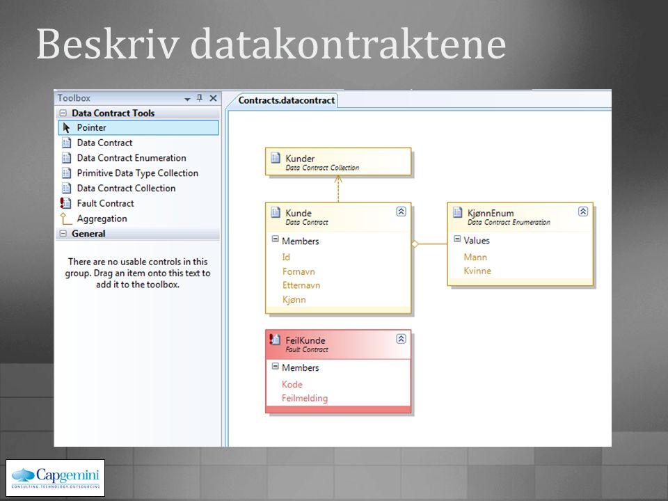 Beskriv datakontraktene