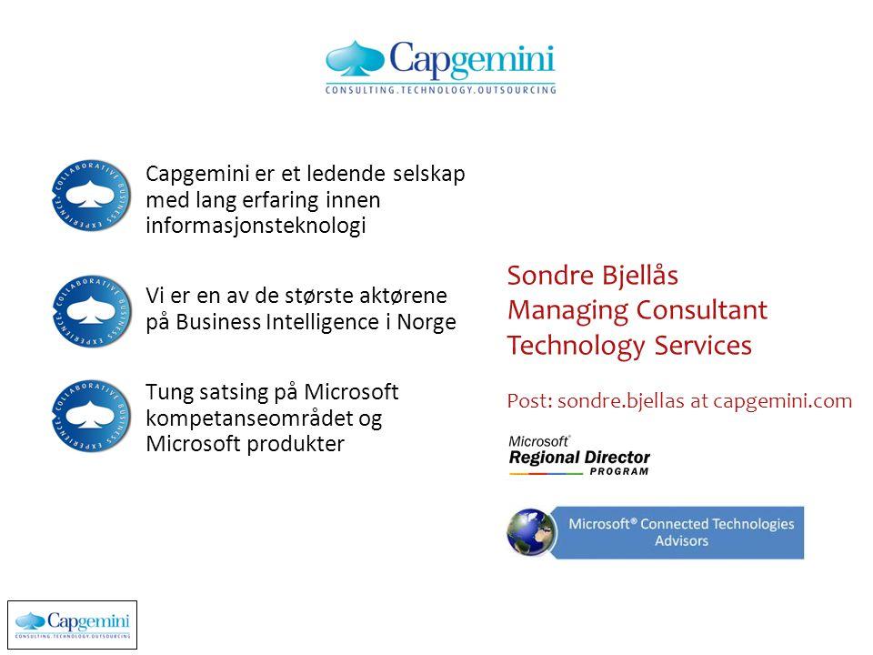 Capgemini er et ledende selskap med lang erfaring innen informasjonsteknologi Vi er en av de største aktørene på Business Intelligence i Norge Tung sa
