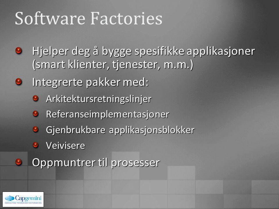 Hjelper deg å bygge spesifikke applikasjoner (smart klienter, tjenester, m.m.) Integrerte pakker med: ArkitektursretningslinjerReferanseimplementasjon