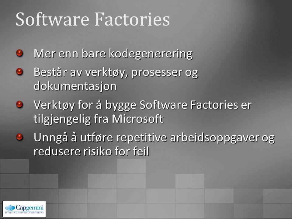 Software Factories Mer enn bare kodegenerering Består av verktøy, prosesser og dokumentasjon Verktøy for å bygge Software Factories er tilgjengelig fra Microsoft Unngå å utføre repetitive arbeidsoppgaver og redusere risiko for feil