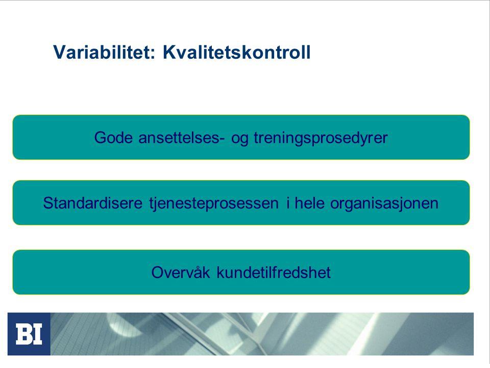 Variabilitet: Kvalitetskontroll Gode ansettelses- og treningsprosedyrer Overvåk kundetilfredshet Standardisere tjenesteprosessen i hele organisasjonen