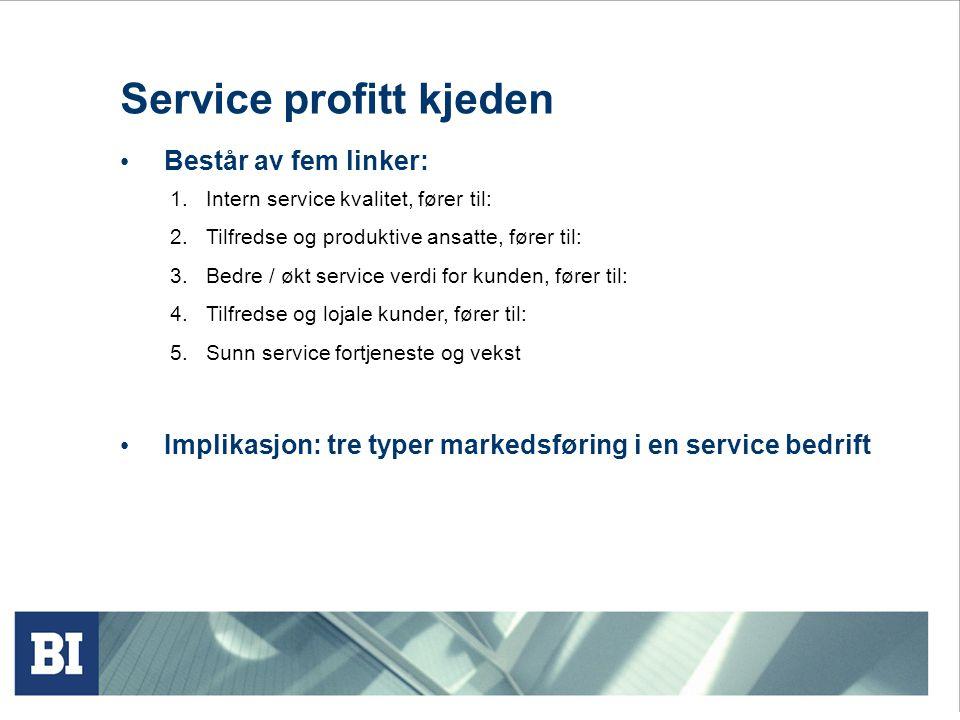 Service profitt kjeden • Består av fem linker: 1.Intern service kvalitet, fører til: 2.Tilfredse og produktive ansatte, fører til: 3.Bedre / økt servi