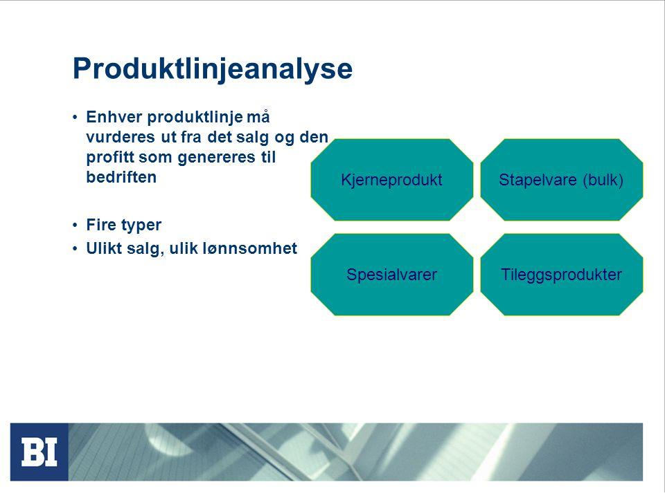 Produktlinjeanalyse • Enhver produktlinje må vurderes ut fra det salg og den profitt som genereres til bedriften • Fire typer • Ulikt salg, ulik lønns