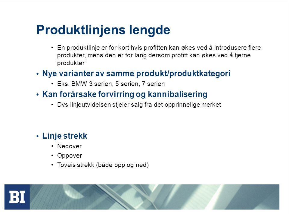 Produktlinjens lengde • En produktlinje er for kort hvis profitten kan økes ved å introdusere flere produkter, mens den er for lang dersom profitt kan
