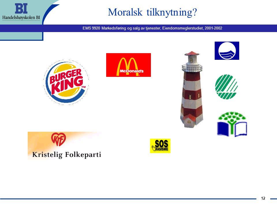 EMS 9920 Markedsføring og salg av tjenester, Eiendomsmeglerstudiet, 2001-2002 11 Kalkulatorisk tilknytning?