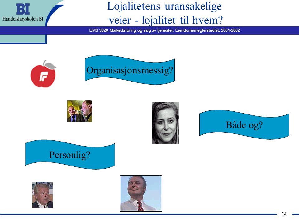 EMS 9920 Markedsføring og salg av tjenester, Eiendomsmeglerstudiet, 2001-2002 12 Moralsk tilknytning?