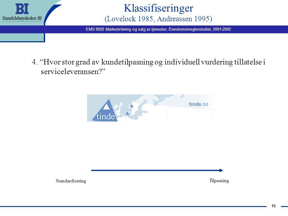 EMS 9920 Markedsføring og salg av tjenester, Eiendomsmeglerstudiet, 2001-2002 15 Implikasjoner n medlemskap - vet hvordan kunden er/ kjenner kundens b