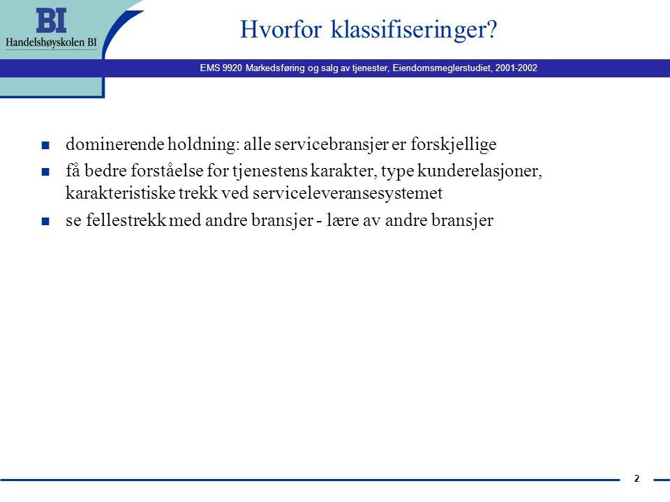 EMS 9920 Markedsføring og salg av tjenester, Eiendomsmeglerstudiet, 2001-2002 1 Serviceledelse: Klassifisering av tjenester. Kvalitet, kundetilfredshe