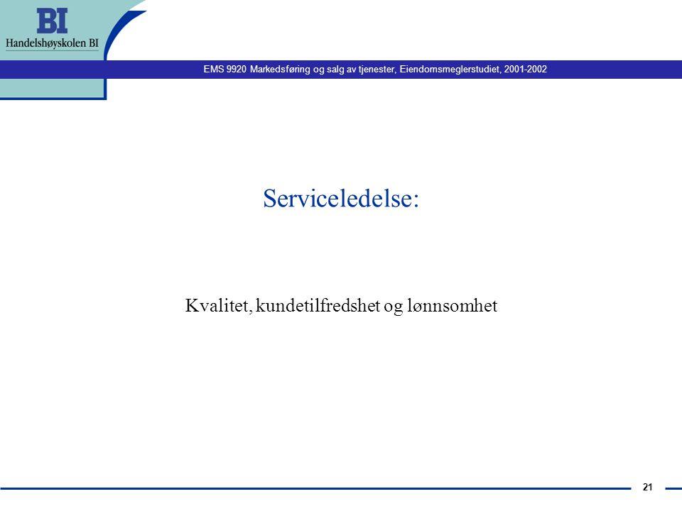 EMS 9920 Markedsføring og salg av tjenester, Eiendomsmeglerstudiet, 2001-2002 20 Implikasjoner n maskiner, standardisering, nivå på utdannelse n Schme