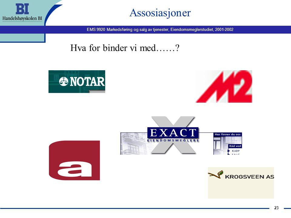 EMS 9920 Markedsføring og salg av tjenester, Eiendomsmeglerstudiet, 2001-2002 22 Tjenestekvalitet Hva er kvalitet? Hva karakteriserer kvalitet? Hvorda