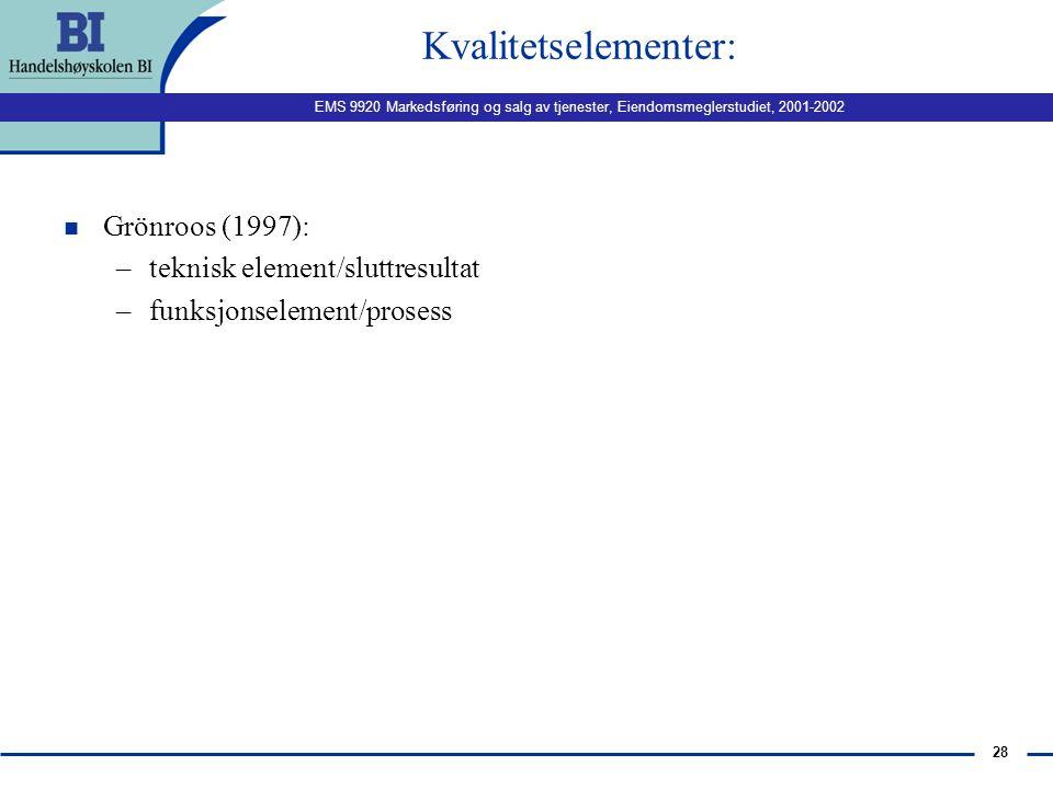 EMS 9920 Markedsføring og salg av tjenester, Eiendomsmeglerstudiet, 2001-2002 27 Hva er kvalitet, forts. n Konsistens n To komponenter: –Nivå –Varians