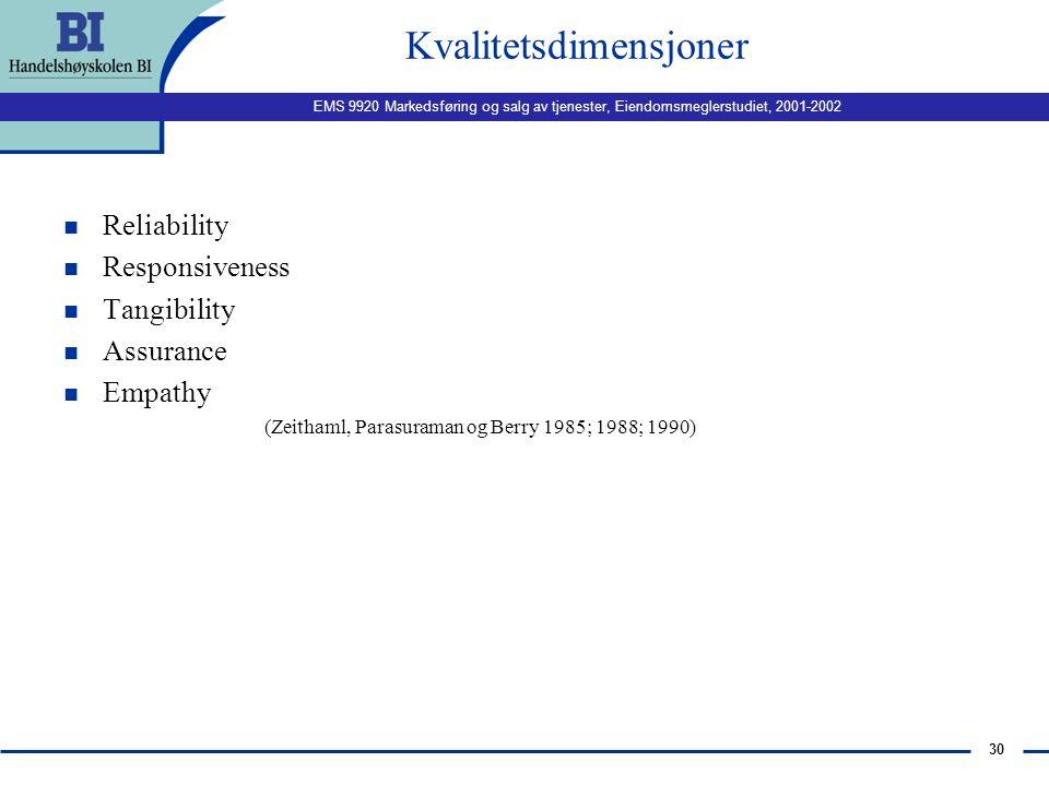 EMS 9920 Markedsføring og salg av tjenester, Eiendomsmeglerstudiet, 2001-2002 29 Ulike typer kvalitet: n Hennig-Thurau og Klee (1997) deler tjenestekv