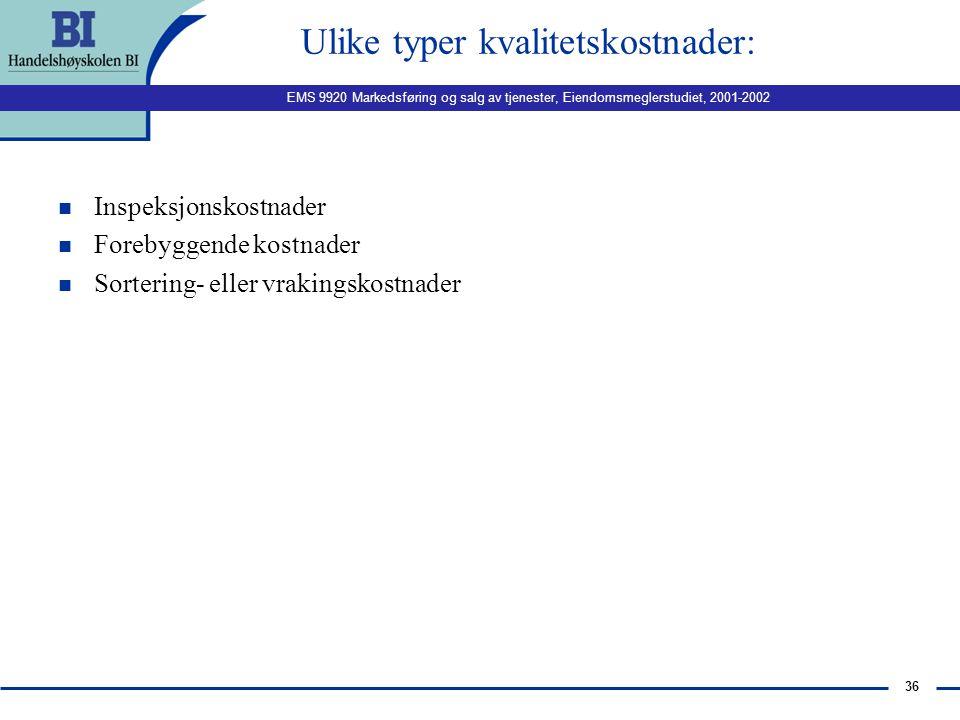 EMS 9920 Markedsføring og salg av tjenester, Eiendomsmeglerstudiet, 2001-2002 35 Potensielle årsaker for sviktende tjenestekvalitet Opplever kundene a