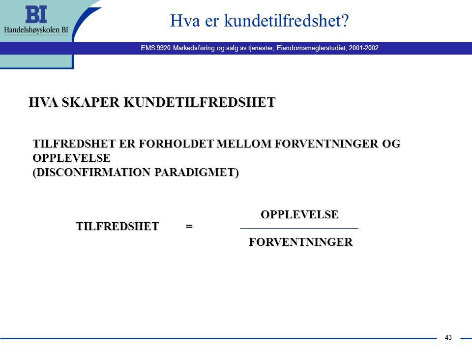 EMS 9920 Markedsføring og salg av tjenester, Eiendomsmeglerstudiet, 2001-2002 42 Forholdet tjenestekvalitet/ kundetilfredshet forts. n Ingen klar enig