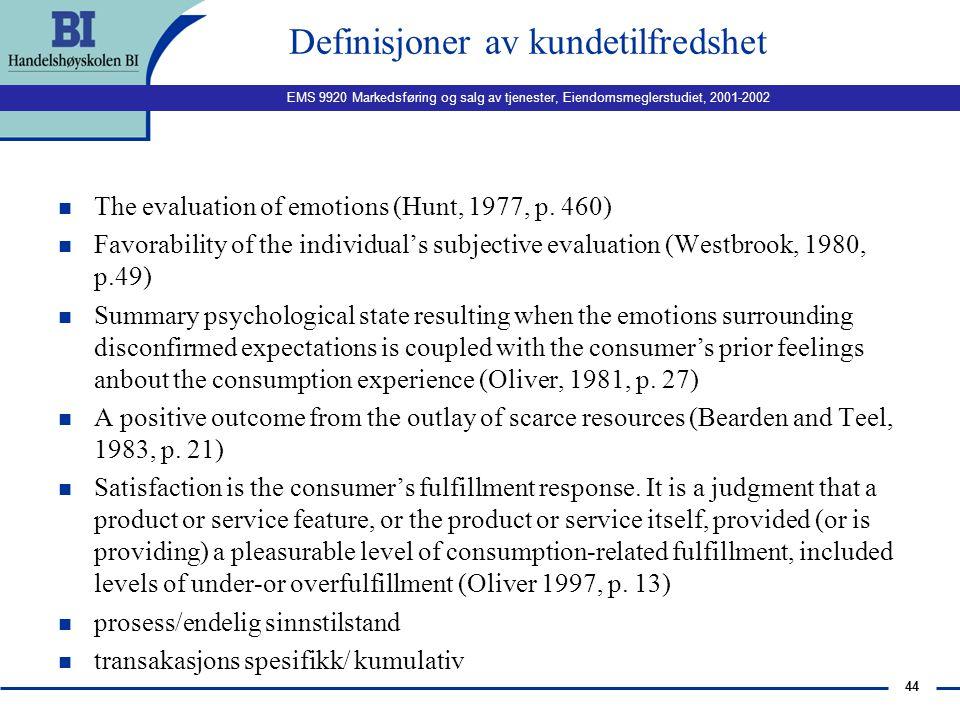 EMS 9920 Markedsføring og salg av tjenester, Eiendomsmeglerstudiet, 2001-2002 43 Hva er kundetilfredshet? HVA SKAPER KUNDETILFREDSHET TILFREDSHET ER F